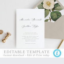 Load image into Gallery viewer, Modern Wedding Invitation Printable Template - Pearly Paper