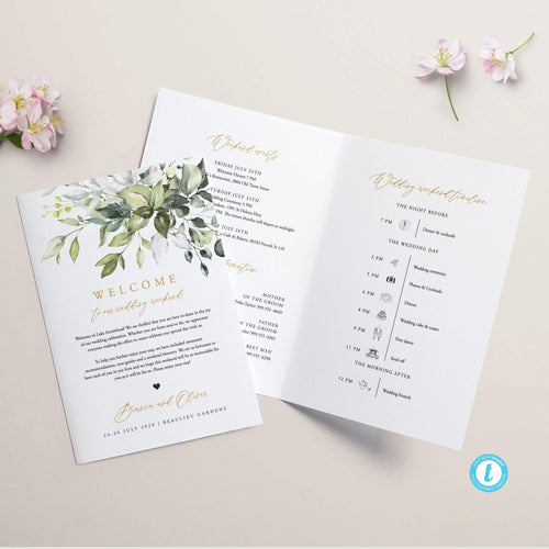 Greenery Wedding Weekend Itinerary - Pearly Paper