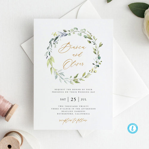 Greenery Wedding Invitation Template download - Pearly Paper