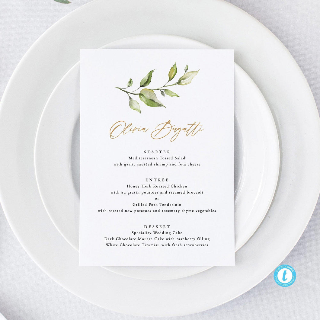 Rustic Wedding Menu Place Cards - Pearly Paper