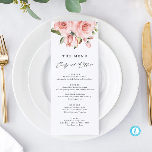 Wedding Menu Pink and Peach Floral - Pearly Paper