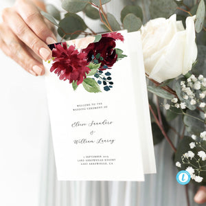 Floral wedding program - Pearly Paper
