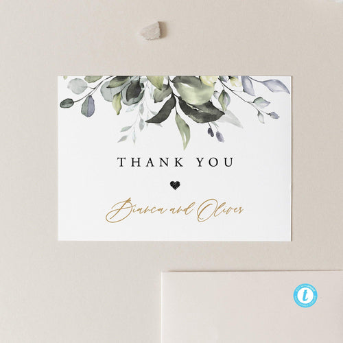 Rustic Greenery Wedding thank you card - Pearly Paper
