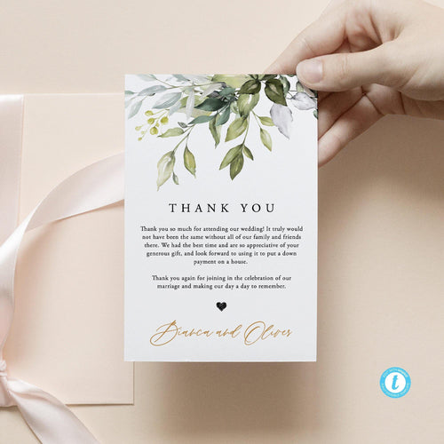Rustic Wedding Thank You Card - Pearly Paper