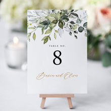 Load image into Gallery viewer, Rustic Greenery Wedding Table Numbers - Pearly Paper