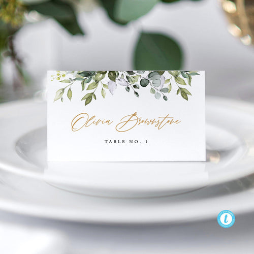 Greenery Wedding Place Cards - Pearly Paper