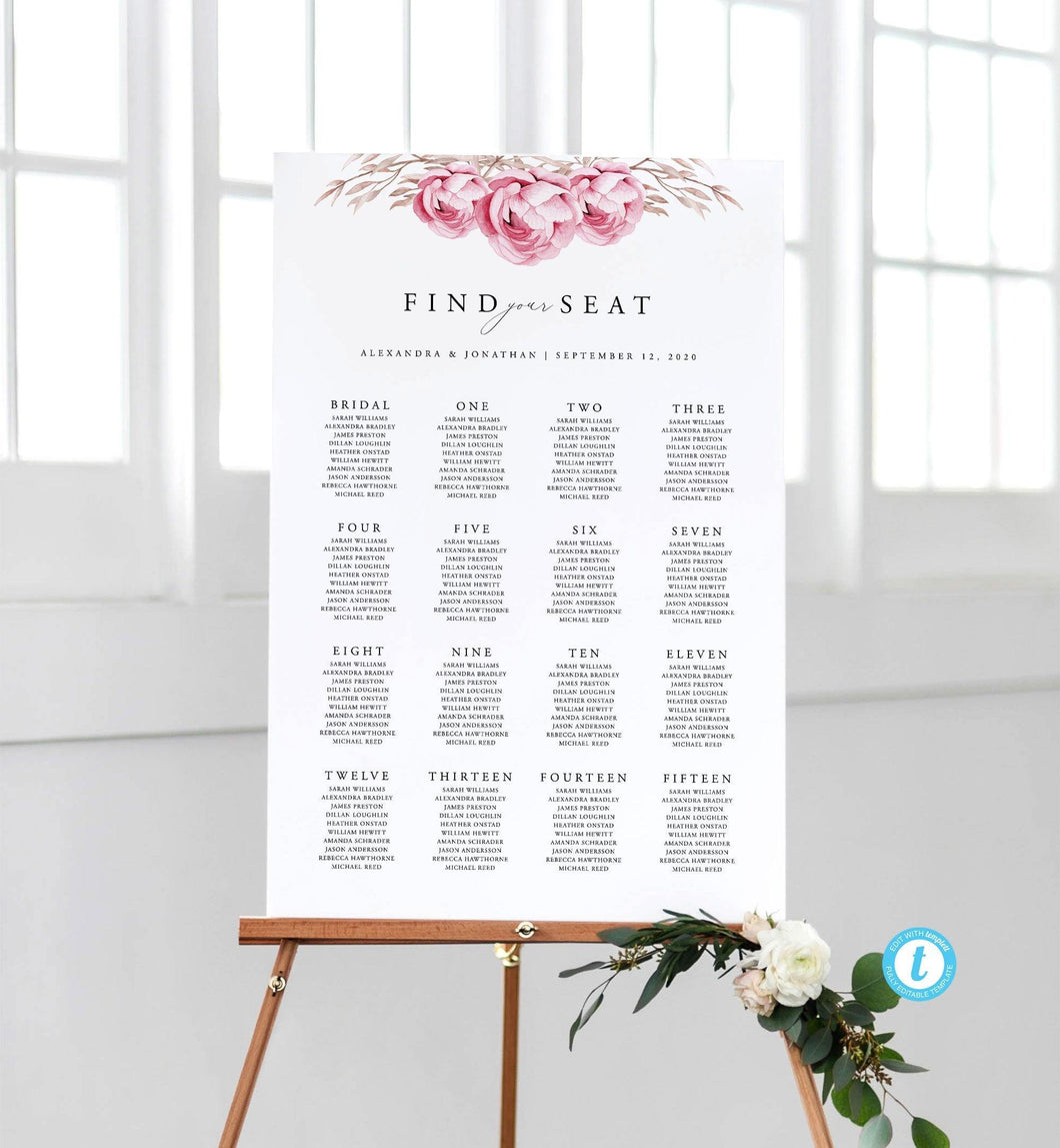 Floral Rustic Seating Chart Sign - Pearly Paper