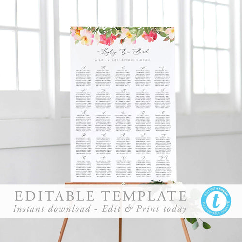 Alphabetical seating chart Blush Floral - Pearly Paper