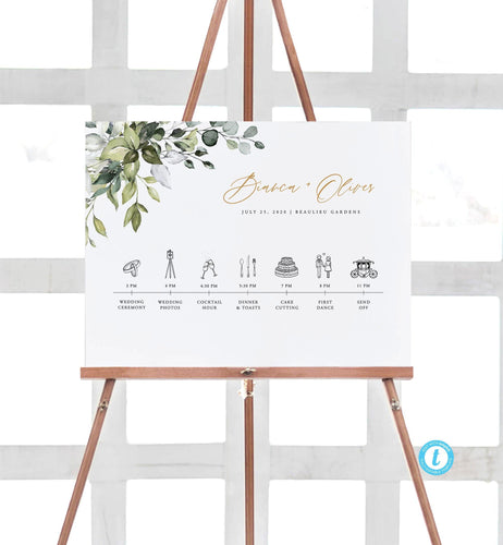 Greenery Wedding Day Schedule Sign - Pearly Paper