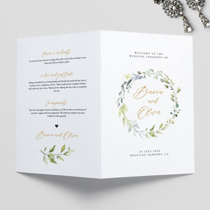Wedding Ceremony Program Greenery - Pearly Paper
