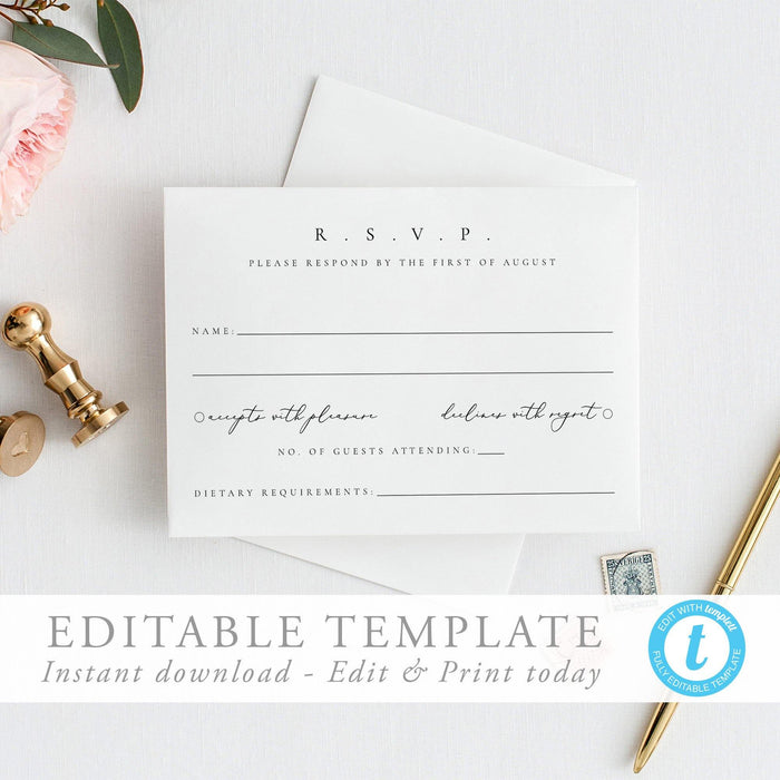 Modern RSVP Card Simple modern - Pearly Paper