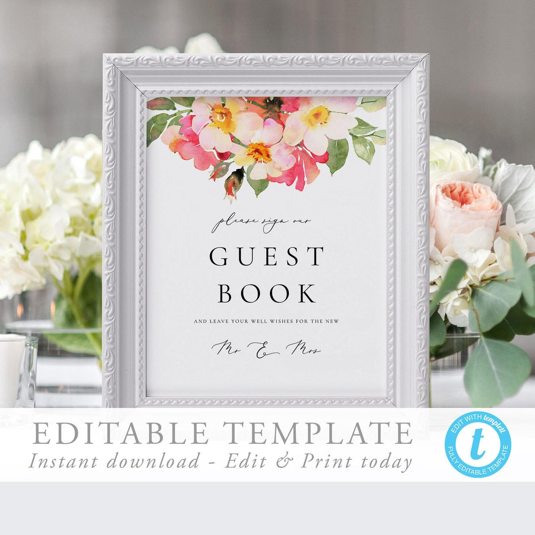 Floral Guest Book Sign Template - Pearly Paper