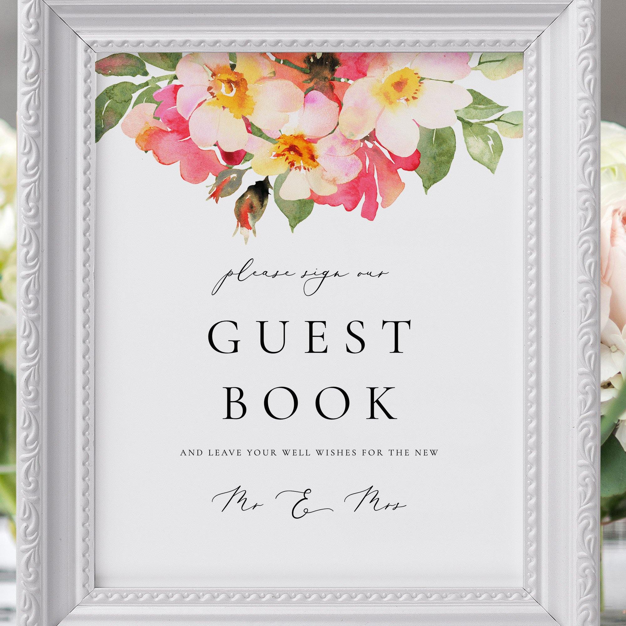 Guest Book Sign  Template Printable Sign  Calligraphy Floral Illustration