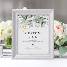 Load image into Gallery viewer, Custom Sign Template Printable Greenery - Pearly Paper