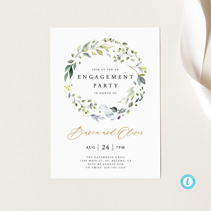 Rustic engagement party invitation - Pearly Paper