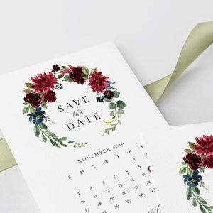 Floral Calendar Save the Date - Pearly Paper