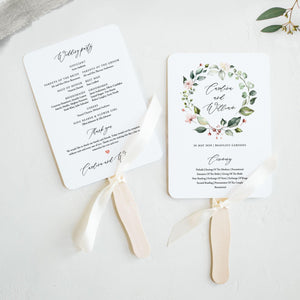 Wedding program Fan Greenery Floral - Pearly Paper