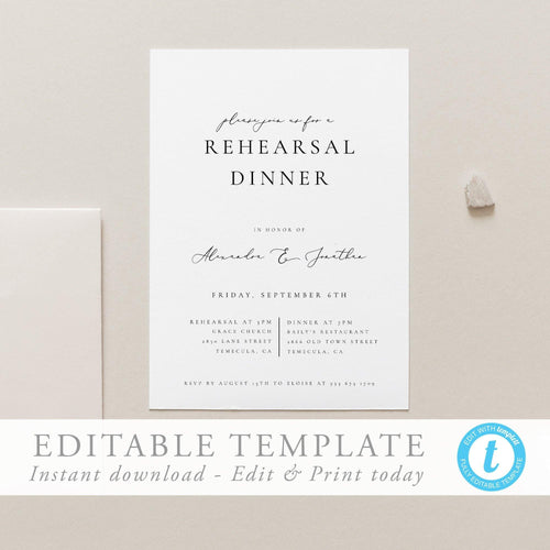Modern Wedding Rehearsal Dinner - Pearly Paper