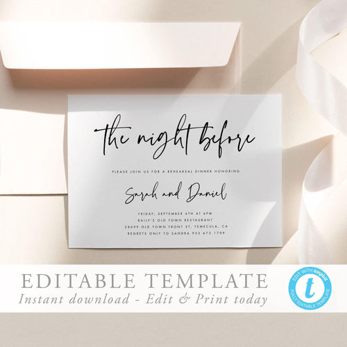 Modern Rehearsal Dinner Invitation - Pearly Paper