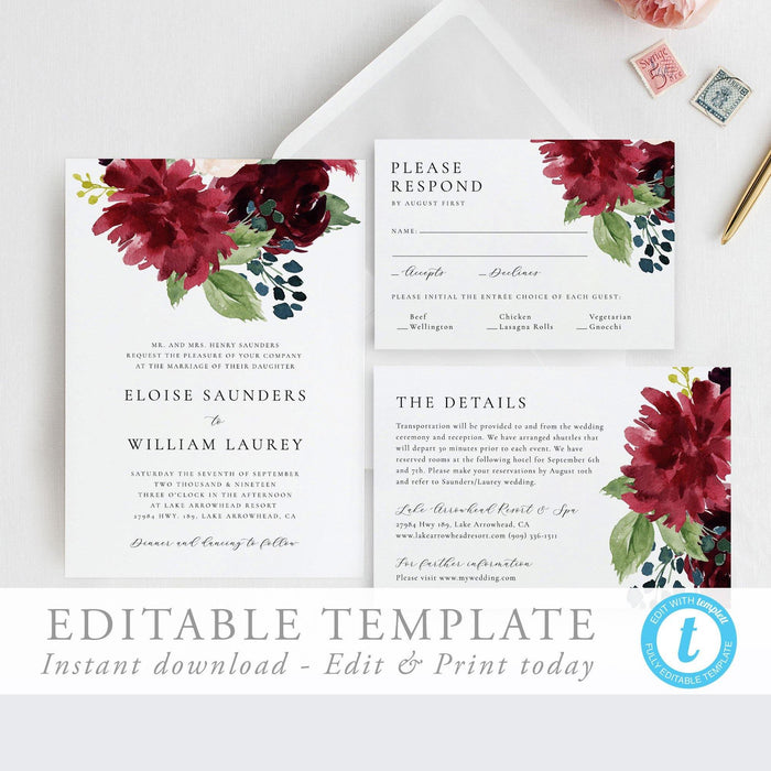 Wedding Invitation Suite Boho Wedding - Pearly Paper