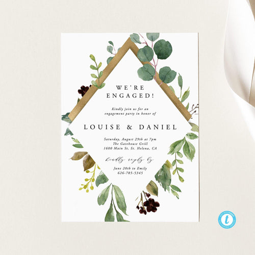 Engagement party invitation Rustic - Pearly Paper
