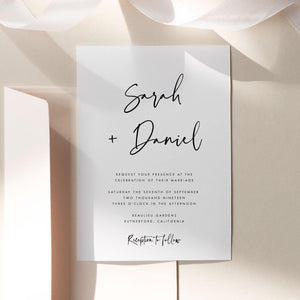 Modern Wedding Invitation Template download - Pearly Paper