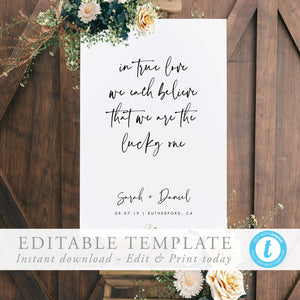 Wedding Welcome Sign Template Wedding - Pearly Paper