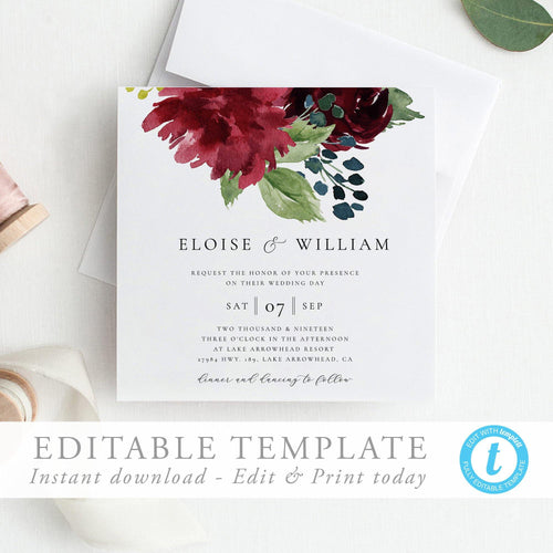 Square Wedding Invitation Template DIY - Pearly Paper