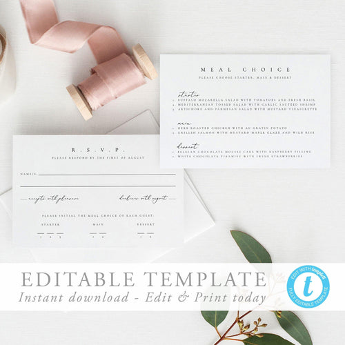 Modern RSVP Card with meal - Pearly Paper