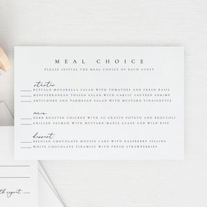 RSVP Card with meal option - Pearly Paper