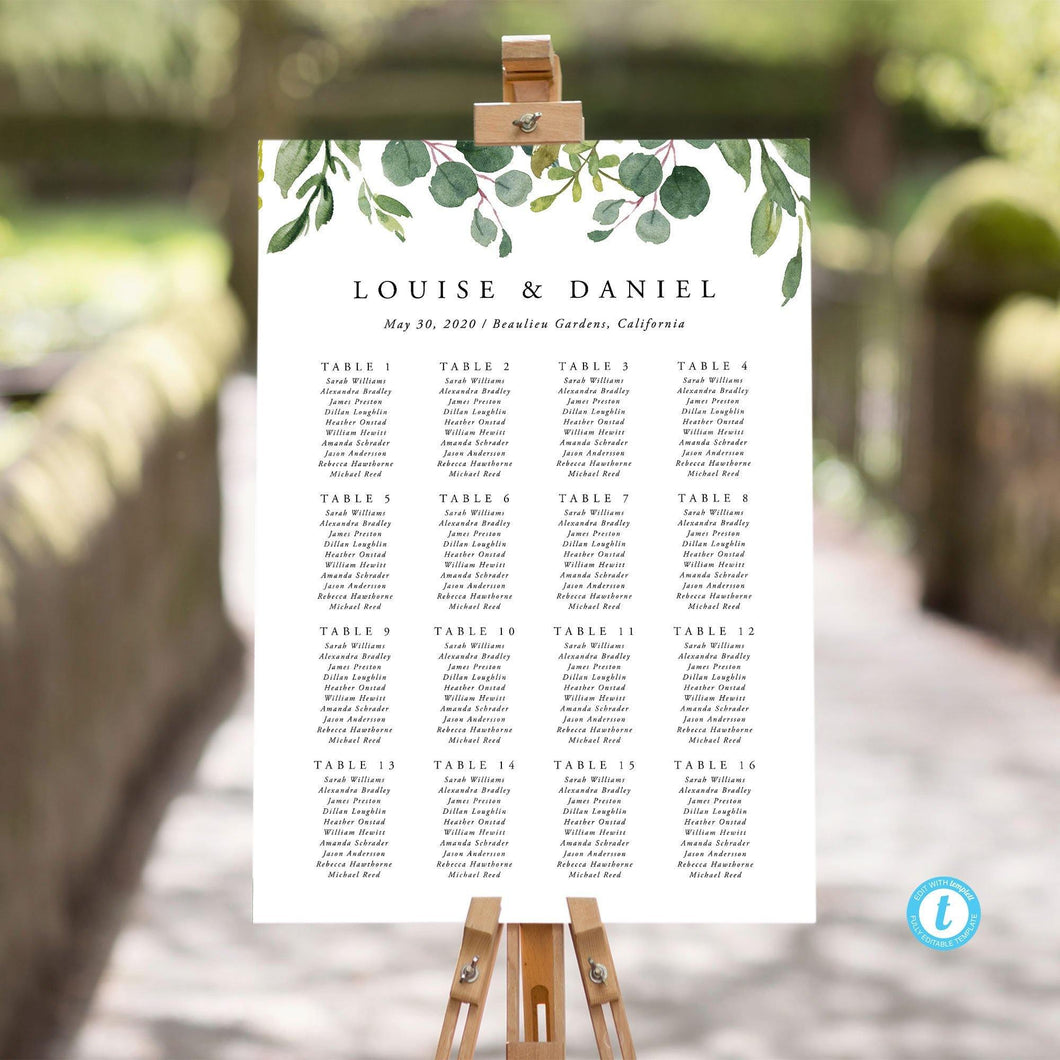Table Seating Chart sign Greenery - Pearly Paper