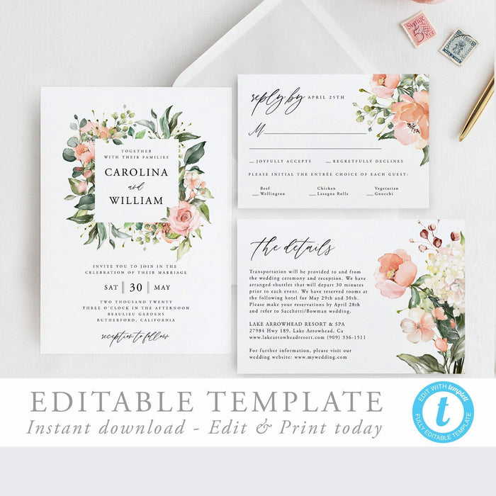 Floral Wedding Invitation Suite Invitation - Pearly Paper