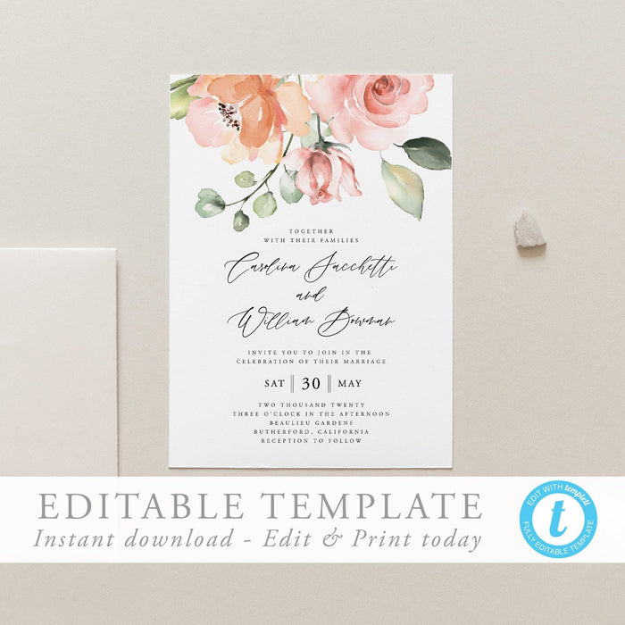 Wedding Invitation Template download Peach - Pearly Paper
