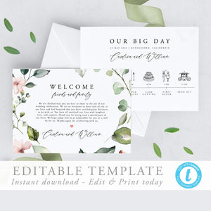 Wedding Day Timeline Floral - Pearly Paper