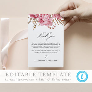 Floral Thank You Card template - Pearly Paper