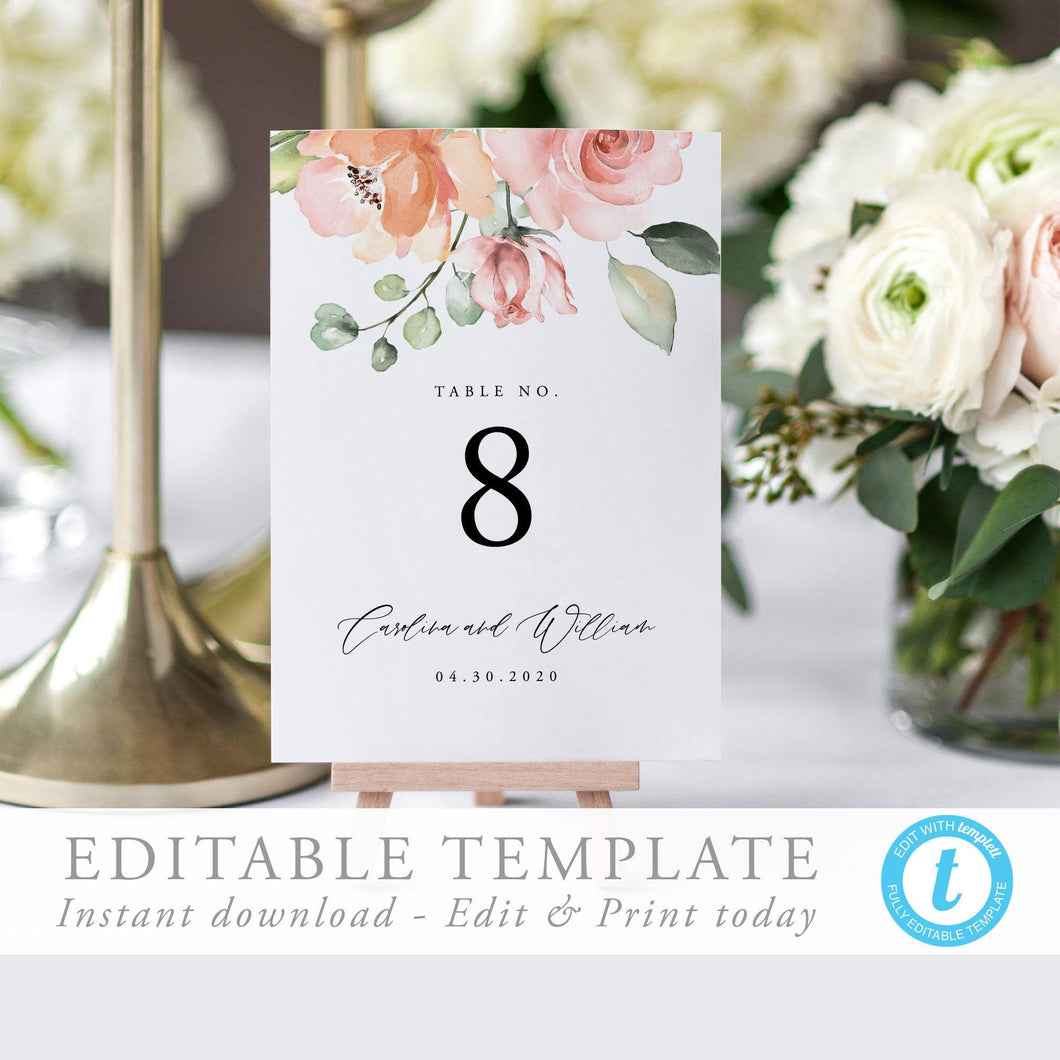 Peach Pink Floral Table Numbers - Pearly Paper