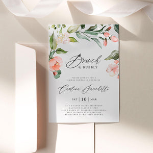 Floral Brunch and Bubbly Bridal Invitation - Pearly Paper