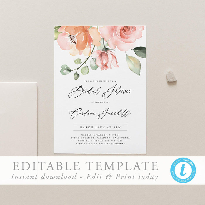 Bridal Shower Invitation Template Floral - Pearly Paper