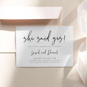 Modern Engagement invitation - Pearly Paper
