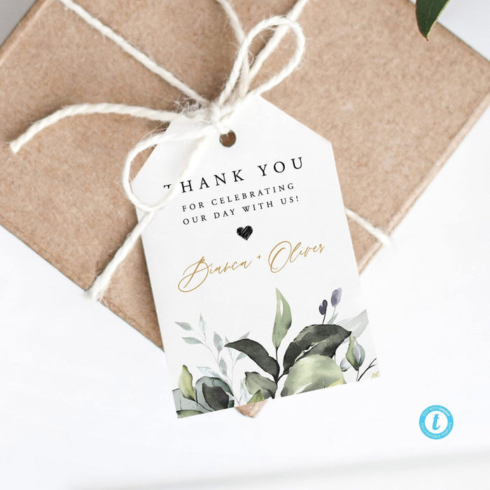 Greenery Wedding Favors Tag - Pearly Paper