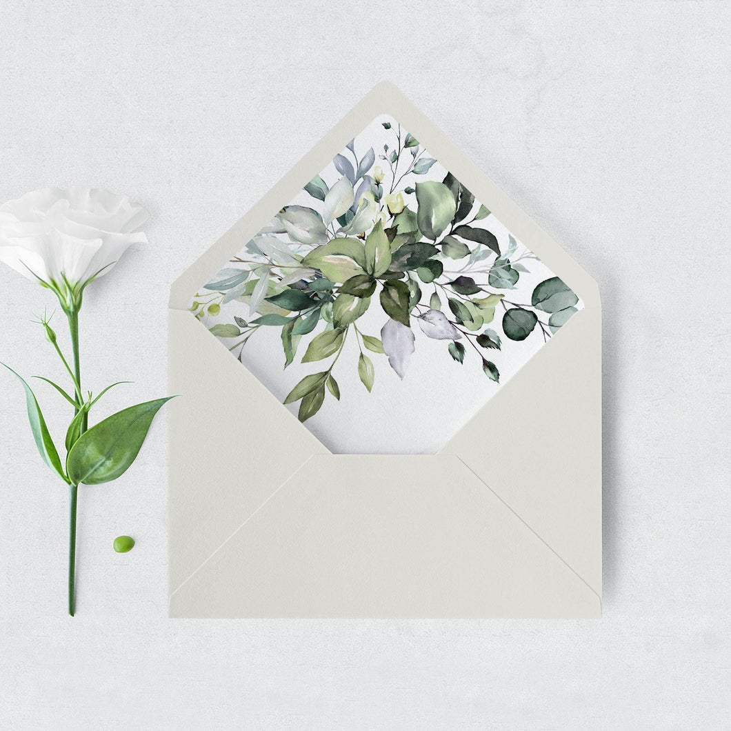 Rustic Envelope Liner Greenery - Pearly Paper
