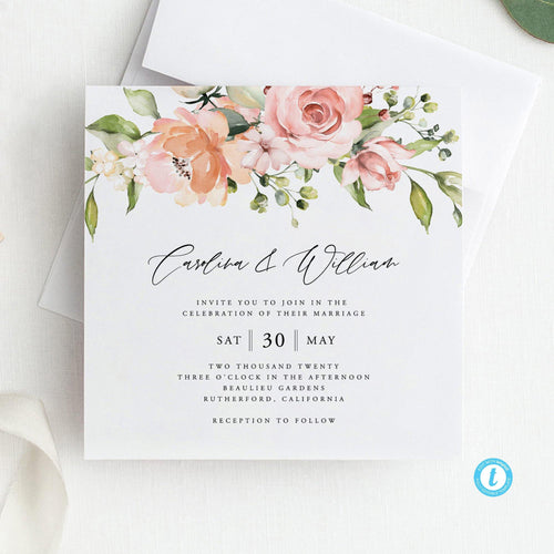 Wedding Invitation Template Download Wedding - Pearly Paper