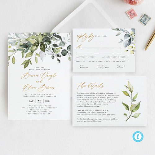 Printable Wedding Invitation Set Invitation - Pearly Paper