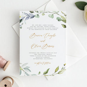 Greenery Wedding Invitation Set Invitation - Pearly Paper