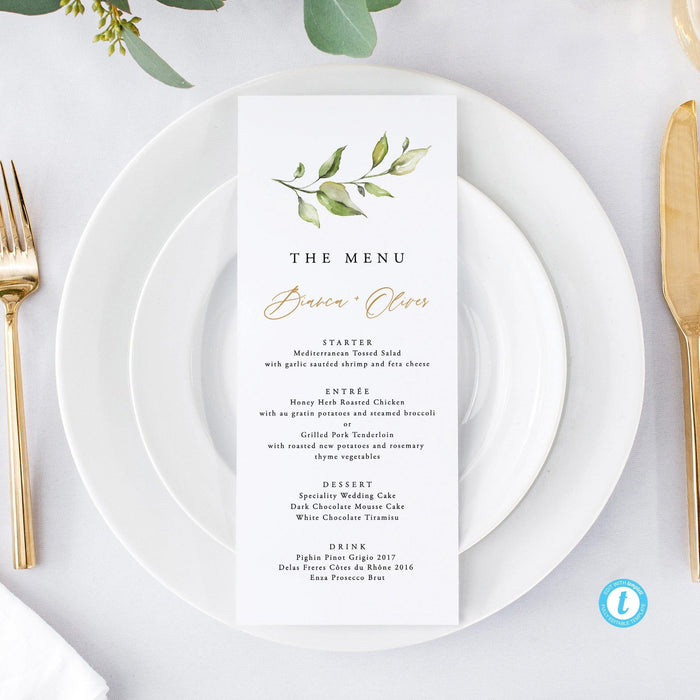 Wedding Menu Rustic Greenery - Pearly Paper