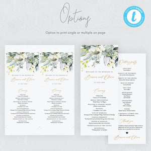 Rustic Wedding Ceremony Program - Pearly Paper