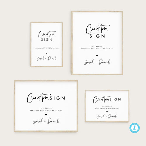 Custom Sign Template Printable Modern - Pearly Paper