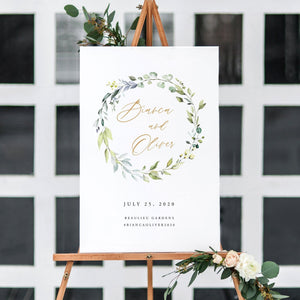 Greenery welcome sign Template Editable - Pearly Paper