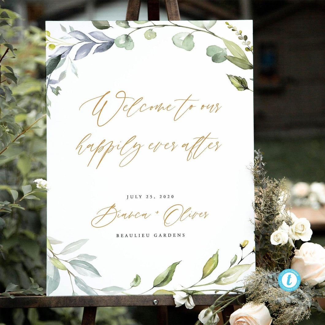 Wedding welcome sign Template Greenery - Pearly Paper