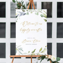 Load image into Gallery viewer, Wedding welcome sign Template Greenery - Pearly Paper